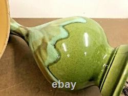 Vintage Ceramic TABLE LAMP PAIR w Shades mid century modern green drip glaze set