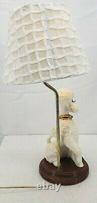 Vintage Ceramic White Poodle Lamp Atlantic Mold 1960s with Shade 22