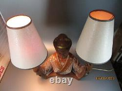 Vintage Chalkware 1950's Geisha Woman Asian Plaster Lamp with 2 Shade J. Farkas