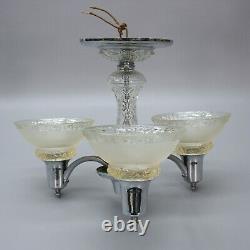 Vintage Chandelier Lamp Ceiling Nickle Chrome 3-arm Light Fixture Glass Shades