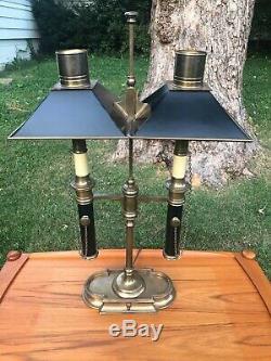 Vintage Chapman Bouillotte Double Bulb Brass Desk Lamp with Tole Shades original