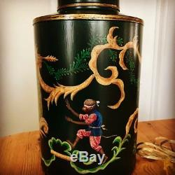 Vintage Chapman/ Frederick Cooper Monkey Chinoiserie Tea Canister Can Lamp Shade
