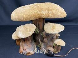 Vintage Coral Mushroom Lamp MCM Coral Shades Wood Psychedelic Retro Trippy Art