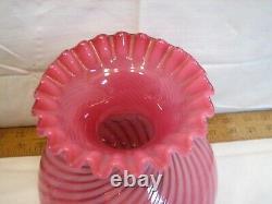 Vintage Cranberry Opalescent Swirl Glass Fluid Lamp Chimney Shade Globe