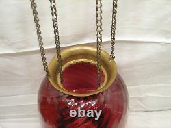 Vintage Cranberry Swirl Glass Shade Pendant Chandelier Ceiling Hall Light Lamp