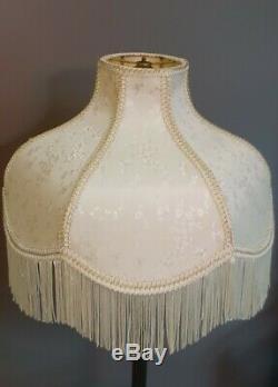 Vintage Cream Floral Designer Victorian Fringe Lamp Light Shade