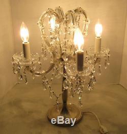 Vintage Crystal Adorned 4 Light Table Lamp Candelabra Shades Prisms 19 x 16