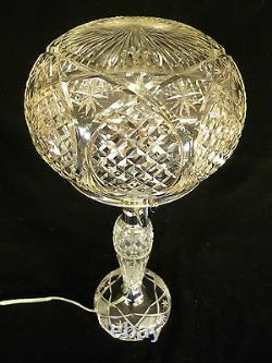 Vintage Cut Crystal Table Lamp With Cut Crystal Dome Shade