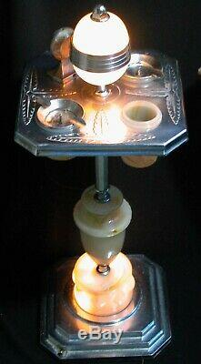 Vintage Deco Chrome Ash Stand Lamp Lighter Ashtray Mosaic Slag Glass Shades 29