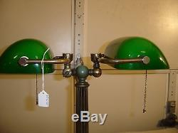 Vintage double bankers lamp with cased green shades 9249 audiocablefo