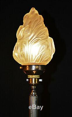 Vintage Edwardian C1910 converted bronze gas table lamp rare flame Opaline shade