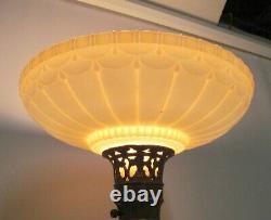 Vintage Fancy Torchiere Lamp Height Adjust Floor Light Nice Original Glass Shade