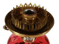 Vintage Fenton Cranberry Art Glass Coin Dot Spot Optic Table Lamp Ruffled Shade