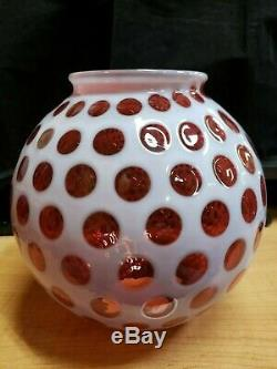 Vintage Fenton Cranberry Glass Coin Dot Lamp Shade