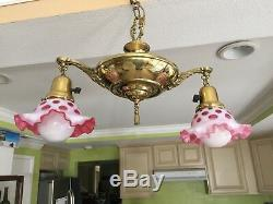 Vintage Fenton Cranberry Glass Shade & Brass 2 Lights Hanging Lamp Chandelier