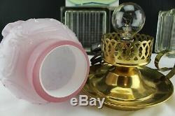 Vintage Fenton Glass Wild Rose & Bow Knot Pink Overlay Shade Brass Finger Lamp