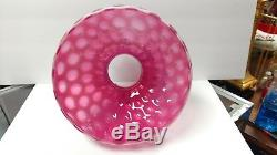 Vintage Fenton Lamp Shade, Cranberry Opalescent Coin Dot Base 10