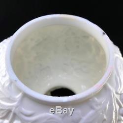 Vintage Fenton Milk Glass White Lamp Shade Poppy Pattern Large