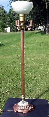 Vintage Floor Lamp Marble Base Textured Milk Glass Torchiere Shade 4 Bulbs 62