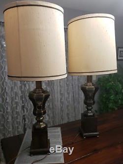 Vintage Frederick Cooper Chicago Brass Pedestal Urn Lamp Pair with Original Shades
