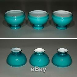 Vintage French Blue Opaline Lamp Shades, 3 pcs