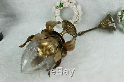 Vintage French Brass hall Lamp chandelier pendant acorn glass shade leaves