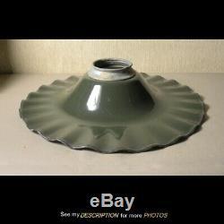 Vintage GE Industrial pleated radial 18 green white Porcelain Enamel Lamp SHADE