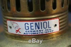 Vintage Geniol 150 CP Brass Kerosene Pressure Lantern Camp Lamp & Shade Germany