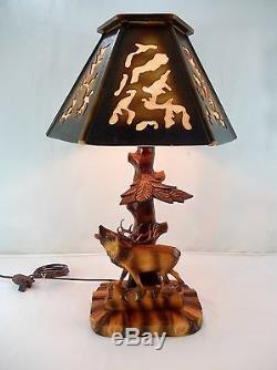 Vintage germany black forest carved wood deer or stag lamp shade vintage germany black forest carved wood deer or stag lamp shade new wiring mozeypictures Gallery