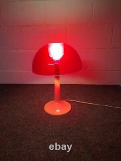 Vintage Gilbert Softlite Mushroom Lamp Mid Century 1960 Red Shade Plastic USA