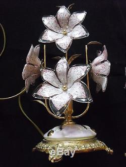 Vintage Gold Italian Murano Venini Art Glass chandelier and 2 table lamp
