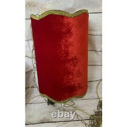 Vintage Gothic Red an Gold Velvet Hanging Swag Lamp 22 Shade withMetalChain Works