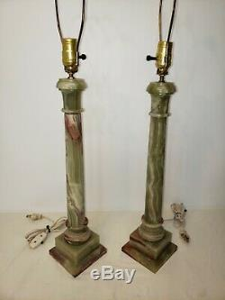 Vintage Green Onyx Marble Electric Lamps Identical Works French Stone No shade