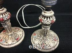 Vintage Hand Painted Pair Cast Iron Boudoir Lamps & Shades Made in USA