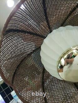 Vintage Hanging Glass Globe Swag Light/Lamp Pendant w Wicker Rattan Tulip Shade