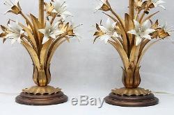 Vintage Hollywood Regency Italian Gold Gilt Tole Flower Lamps Original Shades