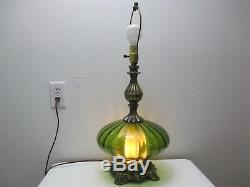 Vintage Hollywood Regency L & L WMC Table Lamp 1971 Green Glass Diffuser 25 1/2