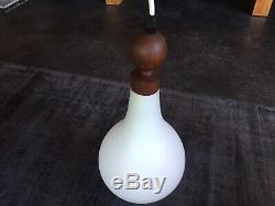Vintage Holmegaard Denmark Ceiling Light Shade / Pendant Milk Glass and Teak