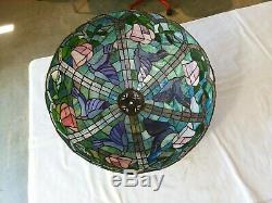 Vintage Hummingbird Tiffany Style Lamp Shade Blue Green Pink