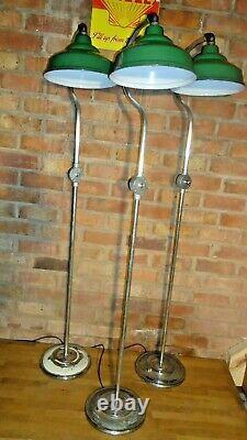 Vintage Industrial Factory Original Green Enamel Light shade Lamp Stand