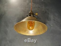 Vintage Industrial Hanging Light with Brass Cone Shade Machine Age Minimalist