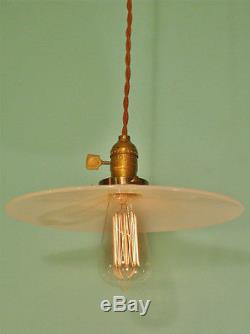 Vintage Industrial Hanging Light With Flat Lamp Shade