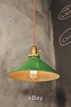 Vintage Industrial Pendant Light With Green Enameled Steel