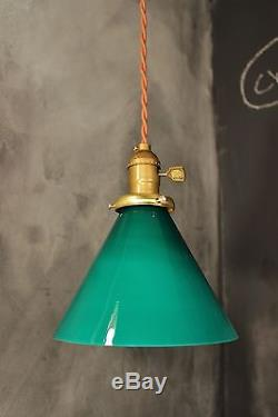 Vintage industrial pendant light with green glass lamp shade gaming vintage industrial pendant light with green glass lamp shade gaming billiards mozeypictures Images