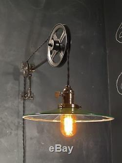 Vintage Industrial Pulley Sconce with Mirrored Reflector Shade Machine Age Light