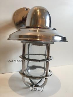 Vintage Industrial Wall Light Bulkhead Marine Aluminium Nautical Silver Lamp