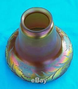 Vintage Iridescent Pink Gold Aurene Lamp Shade Bell Form Steuben
