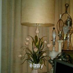 Vintage Italian Tole Metal Floral Lamp With Shade Large Mid Century Tulips