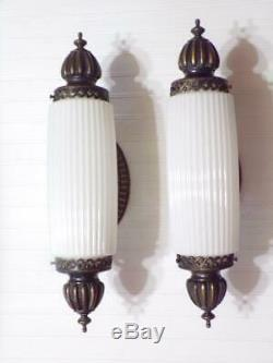 Vintage JOHN C. VIRDEN CO. Wall Sconce Lamps Milk Glass Pendant Shades