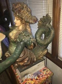 Vintage Josephine Mead Carved Gesso Carousel Signed Lamps WithQuetzal shades 1930